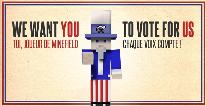 votez pour minefield, votre serveur minecraft préféré !