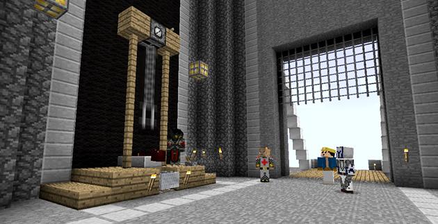 herses poulie chateau pont-levis minecraft